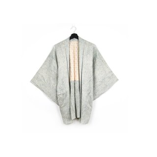 Back to Green-Japan brought back feather weave blue-green grain road/vintage kimono