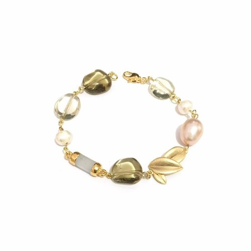Pretty Moonstone with Lemon Quartz Bracelet