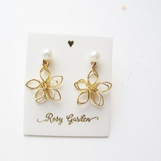 Rosy Garden golden wire flowers earrings