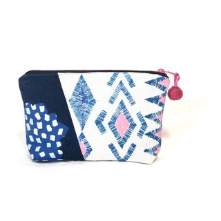 Stitching cosmetic bag - imported from Japan - blue geometry + blue dot