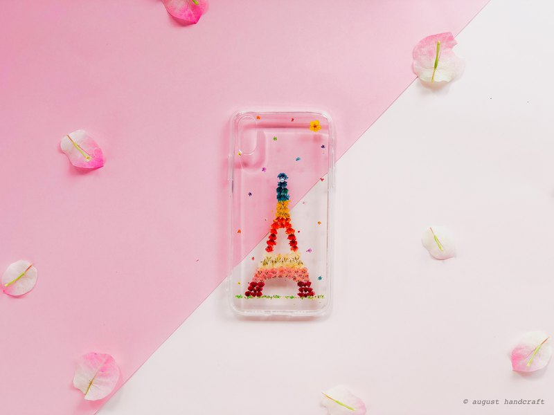 巴黎铁塔 干花手机壳 • Eiffel Tower Handpressed Flower Phone Case