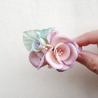 Elegant light purple pink fabric flower Hair Accessories, Gift for Her HA250518