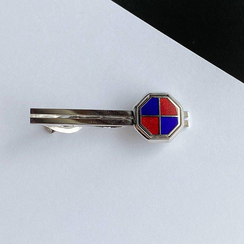 八角形[石榴石x藍色]景泰藍烤領帶夾棕褐色銅金屬景泰藍