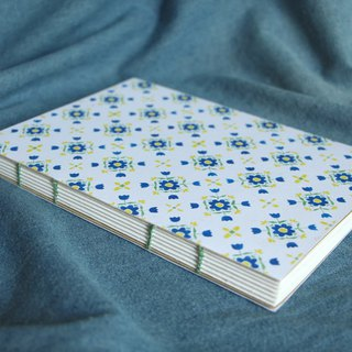 Flower handmade note book (Big blue flower small yellow)