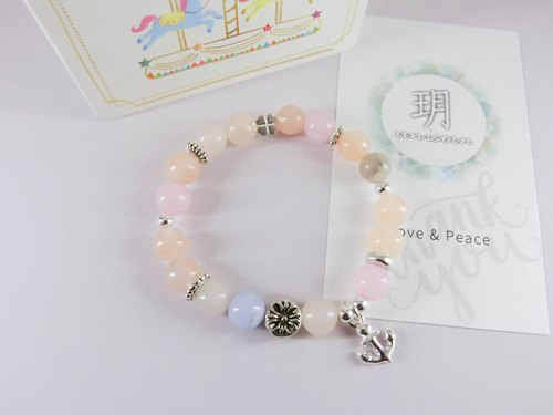 Only for you to stop the natural stone beaded silver bracelet - pink - Yue unicorn-925 sterling silver Tibetan silver blue grain agate jade round beads gift