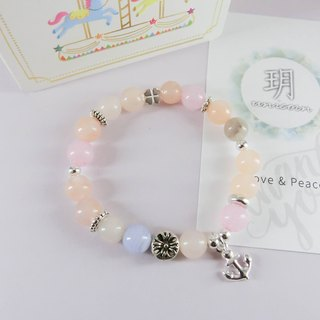 Only for you to park a natural stone silver bracelet │ pink unicorn 925 sterling silver icy silver necklace agate bead gift birthday anchor Valentine's Day Christmas