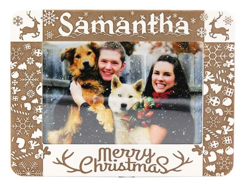 Customized carved wooden photo frame (4R photo) - Christmas theme B theme x personalize