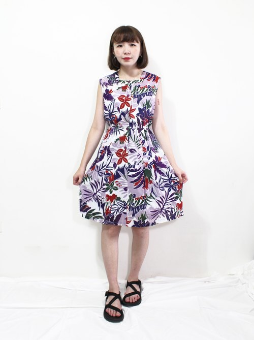 Takumi - tropical style large flower ancient sleeveless vest dress
