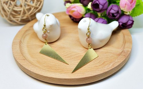 Brass natural stone * X * pink love triangle - European and American fashion hook earrings # #