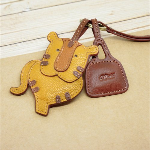 Ox leather zodiac key ring - Tiger