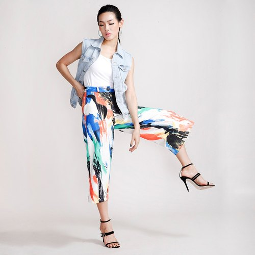 Printing wide trousers (childhood Ji Qu)