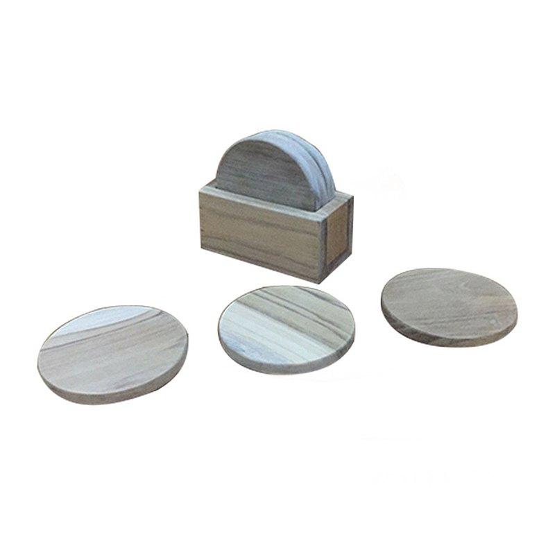 【吉迪市柚木家具】原木杯墊3個 含收納盒 木質杯墊 加厚 LT-070B
