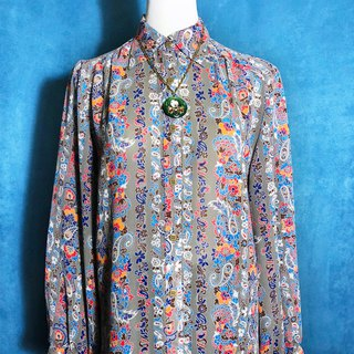 Flower Totem Chiffon Long Sleeve Vintage Shirt / Brought Back abroad VINTAGE