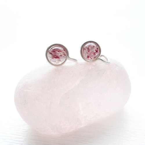 <GENIES>Strawberry Quartz Silver Earrings Clip On Piercings Ear Cuffs