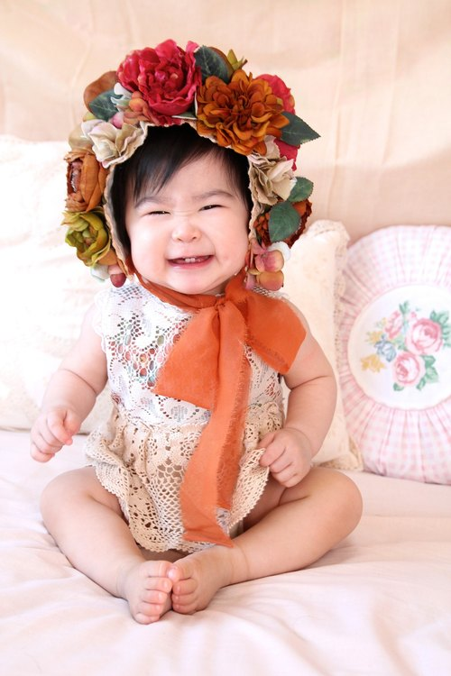 Baby flower cap baby flower cap baby headdress first life bonus Flower Bonnet Newborn Bonnet headdress Mitani gift Mitel headdress Hundred Days feast headdress week old birthday gift birth photography photography props baby photography props
