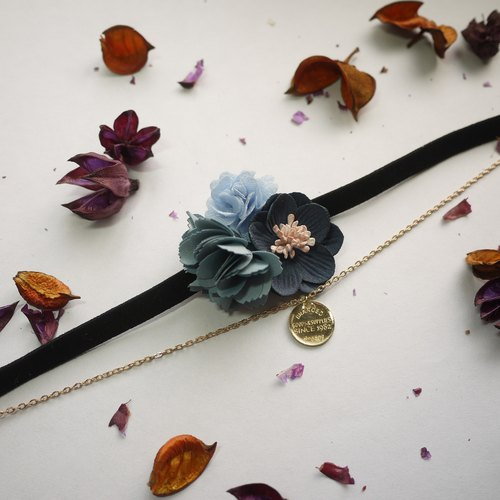 [Full House] buy one get one early summer flowers necklace. Shunin blue] [Panna Cotta