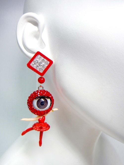 TIMBEE LO red crystal eyes girl earrings single release eye will open and close activities
