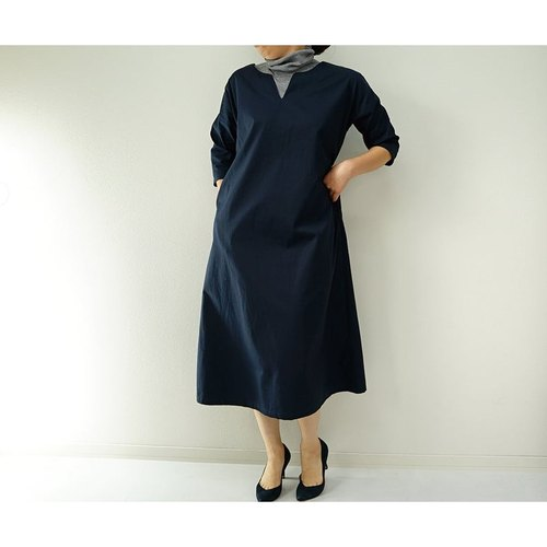 【wafu】A drop shoulder dress / Navy a42-11