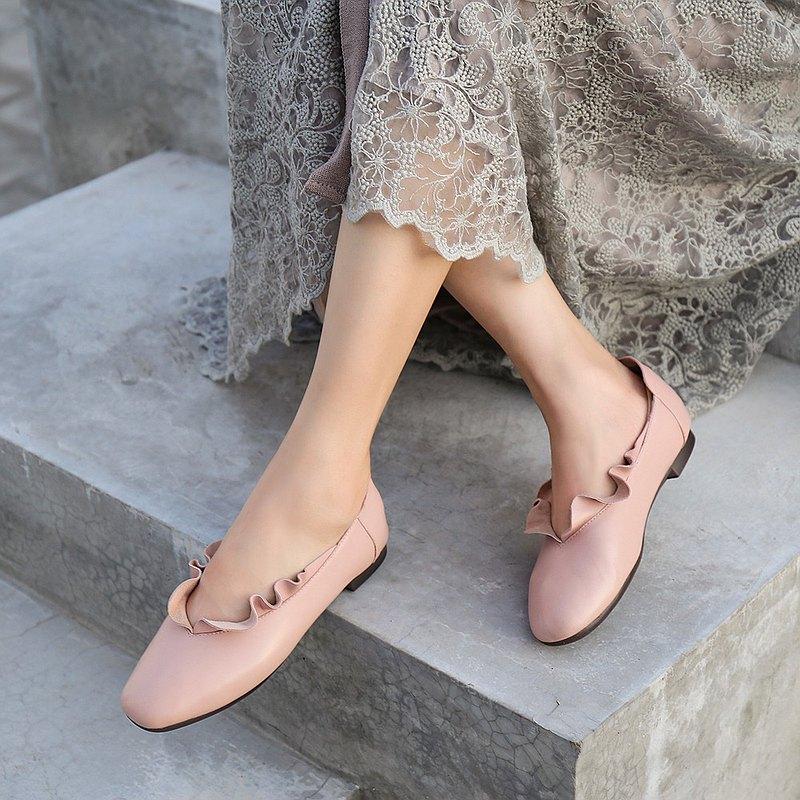 荷葉花邊平跟淺口純色舒適單鞋 舒適懶人鞋女