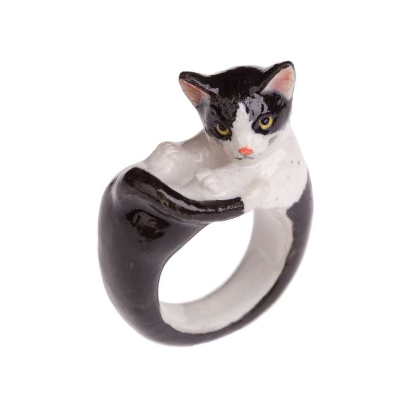 And Mary Black and White Cat Ring | 17.5mm | Gift Box