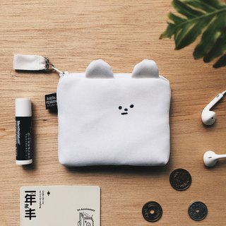 ''Bear intimate'' card case & coin purse-white