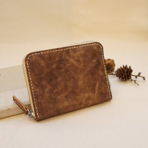 Snowflakes series zipper purse - chocolate brown