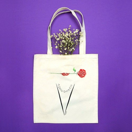 《Lady A to Z on tote bag》Hand-drawn Tote Bag-Vertical Q-Z