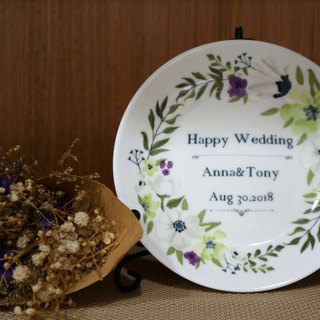 4.4 Enamel Plate - Elegant Wreath Small-Platform Customized / Wedding Stuff / Wedding Gift