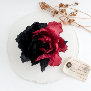 Corsage: two color peonyy (red × black) Peony of two color petals.