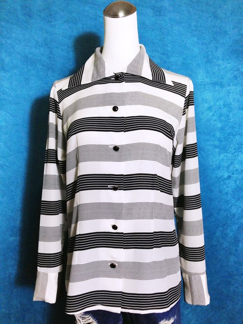 Ping-pong vintage [vintage shirt / Neck striped shiny vintage shirt] abroad back VINTAGE