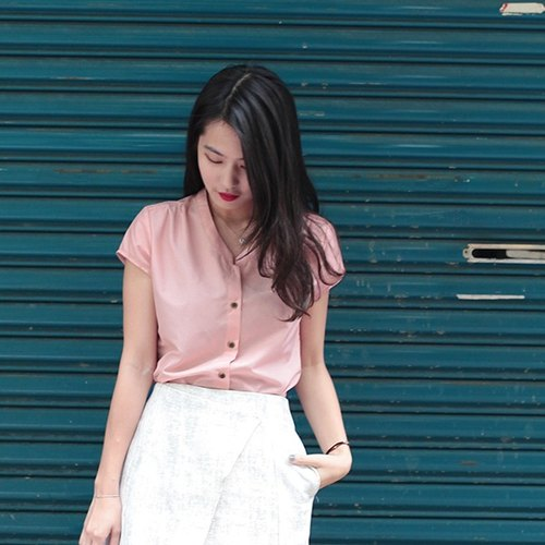 GT Line stand-up collar short-sleeved pink shirt