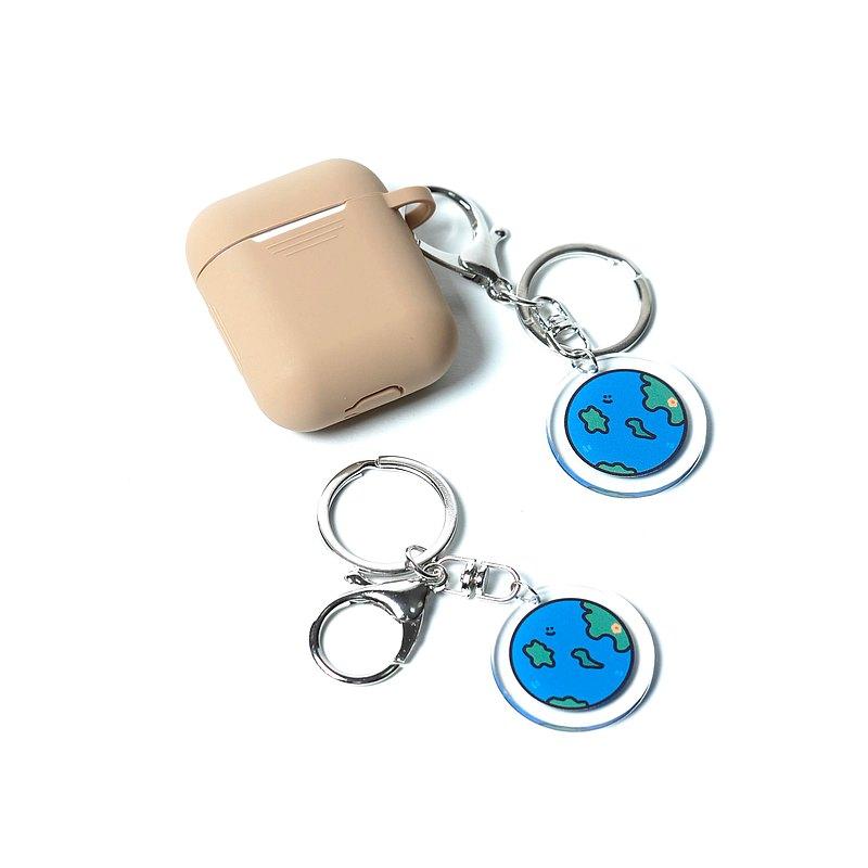 小花地球air pods吊飾鑰匙圈