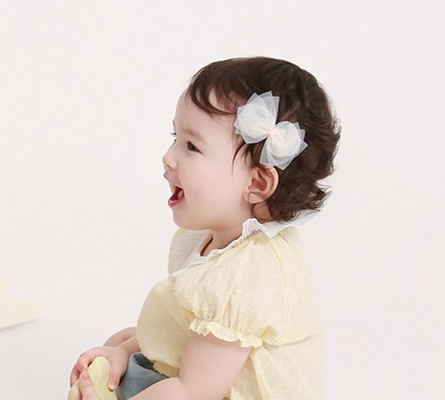 Happy Prince Elizen bow baby girl hairpin Korean system (light goose yellow)