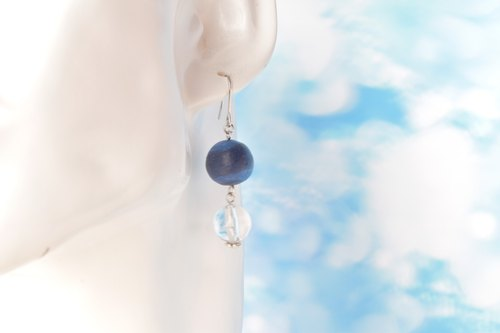 cotton pearl clear pierced earrings kisuka blue purple