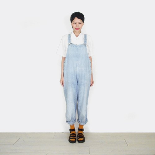 Light-colored denim jumpsuit suspenders trousers AO9020
