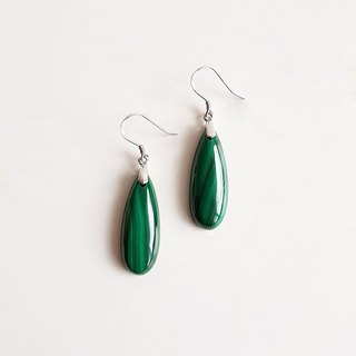 [Gemstones] natural ore high quality malachite 925 sterling silver earrings