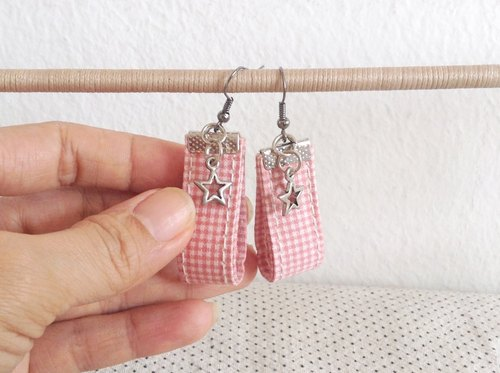 Shining Star - Sweet Pink cotton fabric - Lady Earring