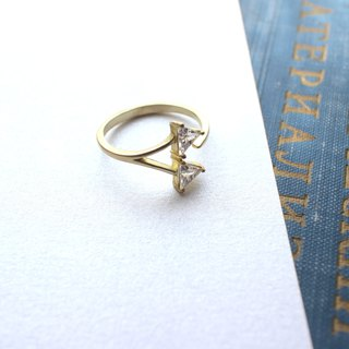 Two cities-zircon brass ring