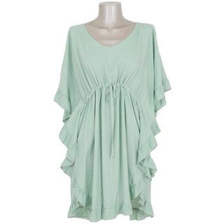 Butterfly sleeve ruffle dress <green>