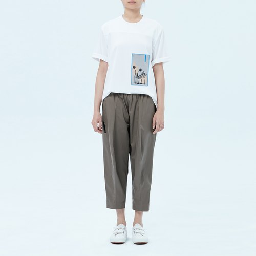 Olive green knees tip shape pants Fu month fuyue