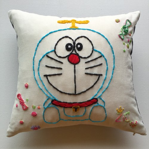 Pillow - cushions - duo A dream / Ding Dong cat / robot cat cartoon hand embroidery original design