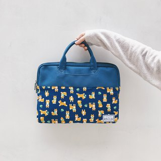Dark Blue Shiba Inu - Colorblock Cloth Laptop Case (13-14吋) / 815a.m