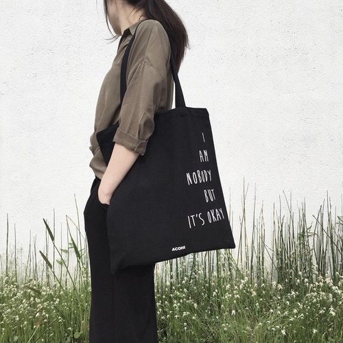 ACOHI IT'S OK canvas bag (black)