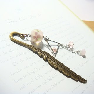 Grapefruit Forest Handmade Glass - Feather Bookmark (Small) - Flower Bookmarks - Cherry Blossom Powder