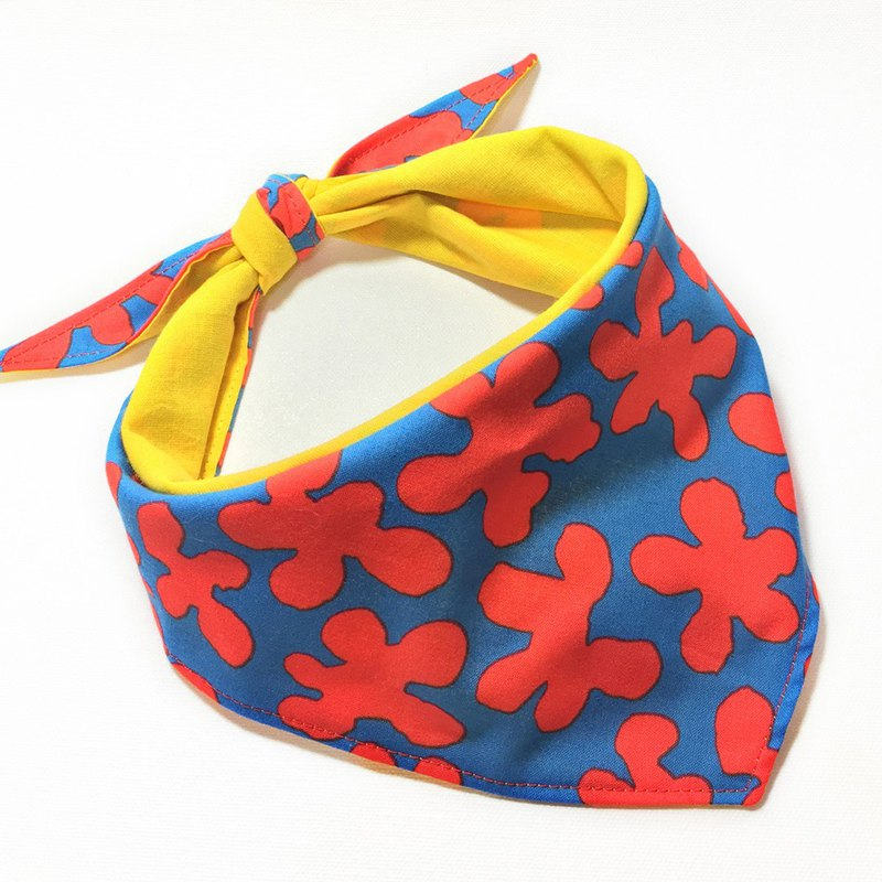 Dog exclusive name scarf-customized (small and medium-sized dogs)-red and blue flowers