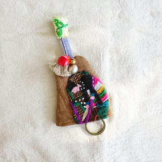 DUNIA handmade / farmhouse gourd key set / Hmong embroidered key cover - harvest