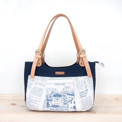 [Micro] Fei Peng can make sense cloth shoulder / handbag - English blue (limited edition) Leather Adjustable Handle