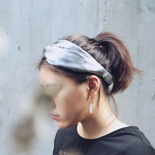 極光/金屬銀/鐳射布/手工 十字鬆緊髮帶_Aurora//flash duotone fiber/silver/Viscose/Taiwan Hand made hair band