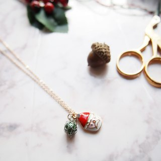 French hand-woven silver copper wire with dark green artificial pearl and Santa pendant sub-necklace P045
