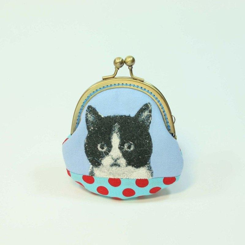 刺繡 8.5cm口金零錢包15-黑白貓